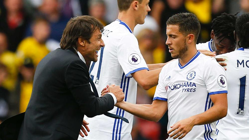 Eden Hazard and Antonio Conte