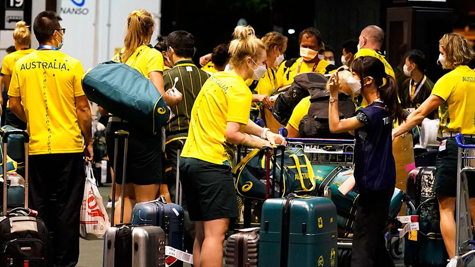 Australian stars are seen here at the airport in Tokyo after arriving to compete in the Olympic Games. Pic: Getty