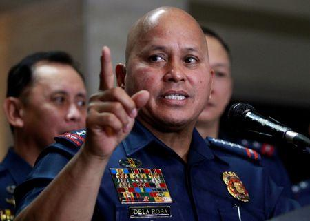 Philippine National Police (PNP) Director General Ronald Dela Rosa gestures during a news conference at the PNP headquarters in Quezon city, Metro Manila, Philippines January 30, 2017. REUTERS/Czar Dancel