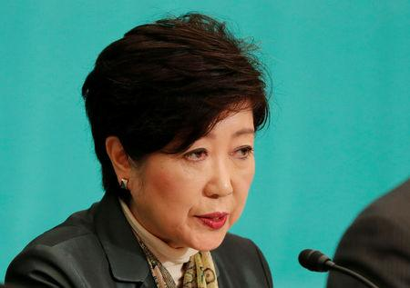 Head of Japan's Party of Hope and Tokyo Governor Yuriko Koike speaks at a debate session ahead of October 22 lower house election at the Japan National Press Club in Tokyo