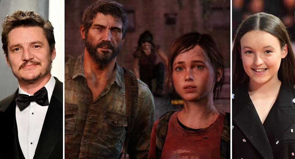 A composite image showing Pedro Pascal (L), a still from Sony's The Last Of Us, and Bella Ramsey (R) (Getty/PlayStation)