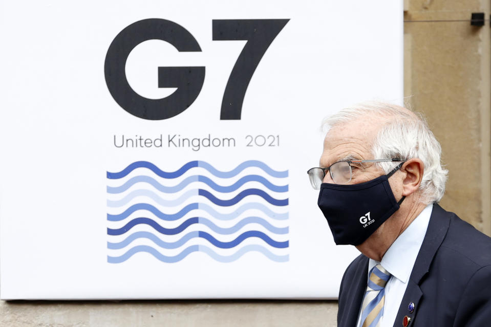 LONDON, ENGLAND - MAY 05: European High Representative of the Union for Foreign Affairs Josep Borrell leaves the G7 foreign ministers' meeting on May 5, 2021 in London, England. Representatives from G7 countries are meeting face-to-face for the first time in two years, ahead of the G7 Leaders' Summit to be held in June. (Photo by Adrian Dennis - WPA Pool/Getty Images)