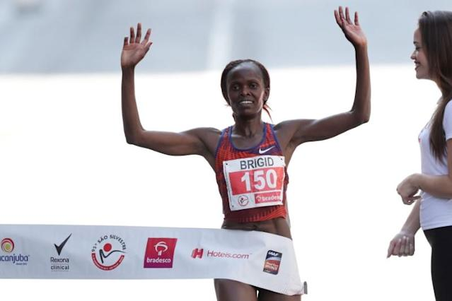 "Kenya's Brigid Jepchirchir Kosgei crosses the finish line to win the annual ""Sao Silvestre Run""in Sao Paulo"