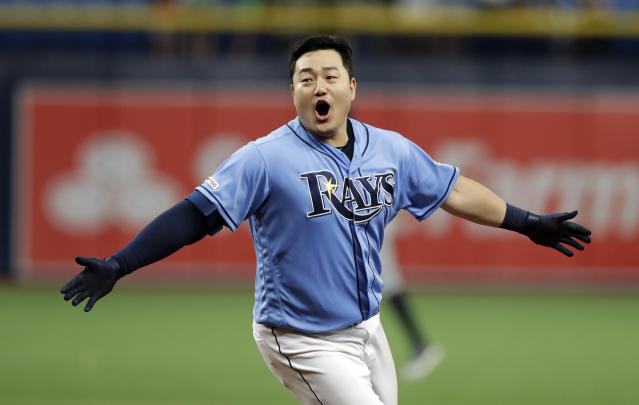 Tampa Bay Rays' Ji-Man Choi celebrates his two-run walk-off single off Detroit Tigers relief pitcher Joe Jimenez during the ninth inning of a baseball game Sunday, Aug. 18, 2019, in St. Petersburg, Fla. (AP Photo/Chris O'Meara)