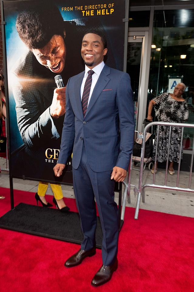 "NEW YORK, NY - JULY 21: Actor Chadwick Boseman attends the ""Get On Up"" premiere at The Apollo Theater on July 21, 2014 in New York City. (Photo by D Dipasupil/FilmMagic)"