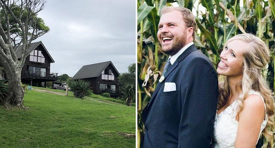 Matthew and Karen Turner (right on their wedding day) were staying at the Hluleka Nature Reserve (left) in South Africa when the stabbing happened.