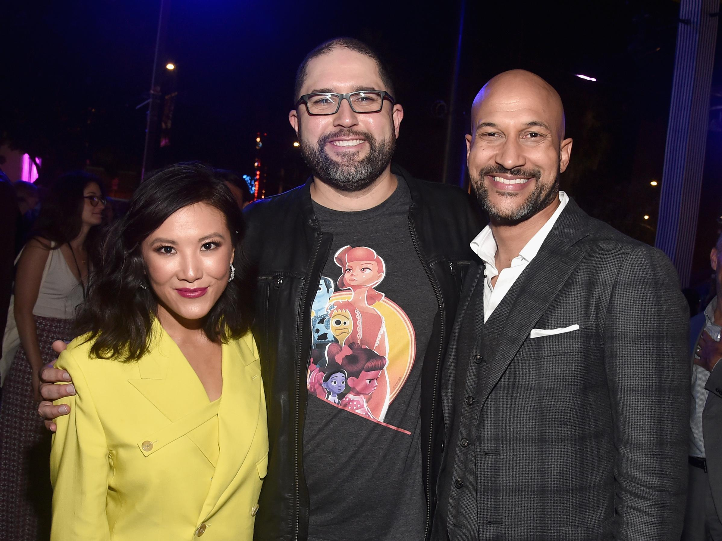HOLLYWOOD, CA - JUNE 11: (L-R) Ally Maki, director Josh Cooley, and Keegan-Michael Key attend the world premiere of Disney and Pixar's TOY STORY 4 at the El Capitan Theatre in Hollywood, CA on Tuesday, June 11, 2019. (Photo by Alberto E. Rodriguez/Getty Images for Disney)