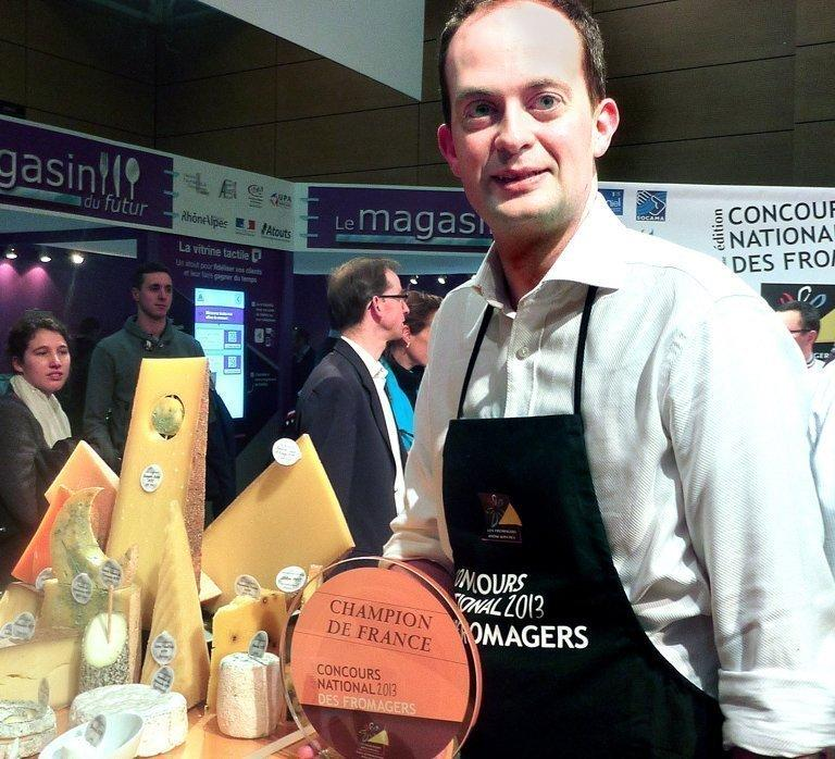 Matt Feroze at the French cheese championships in Lyons, east-central France, on January 27, 2013