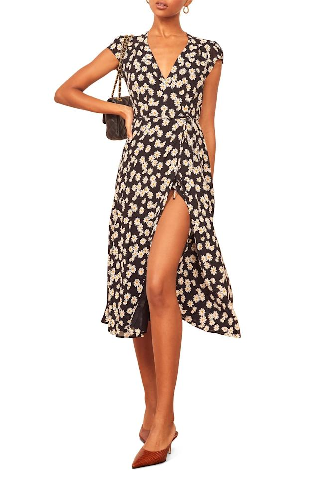 """<p><strong>Reformation</strong></p><p>nordstrom.com</p><p><strong>$130.80</strong></p><p><a href=""""https://go.redirectingat.com?id=74968X1596630&url=https%3A%2F%2Fshop.nordstrom.com%2Fs%2Freformation-carina-midi-wrap-dress-regular-plus-size%2F5474808&sref=http%3A%2F%2Fwww.cosmopolitan.com%2Fstyle-beauty%2Ffashion%2Fg29787840%2Fnordstrom-fall-2019-sale%2F"""" target=""""_blank"""">Shop Now</a></p>Ladylike for the bold, this fluttery georgette wrap dress shows major leg while retaining a little innocence with soft gathered detail at the bodice."""