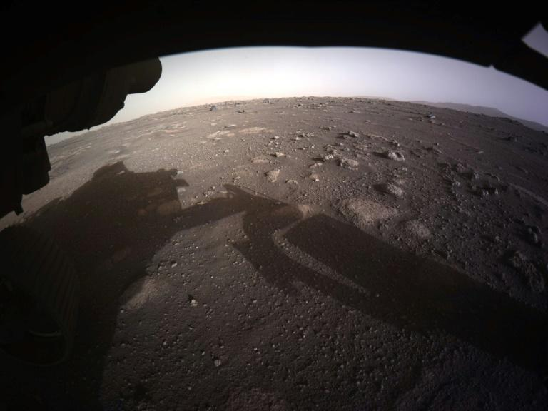 This NASA handout photo shows an image from NASA's Perseverance rover after it landed on the surface of Mars