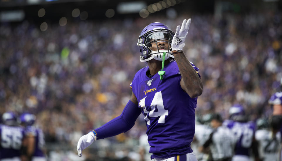 Minnesota Vikings wide receiver Stefon Diggs (14) blows a kiss to the fans after making a reception against the Philadelphia Eagles in an NFL football game, Sunday, Oct. 13, 2019, in Minneapolis. (Jerry Holt/Star Tribune via AP)