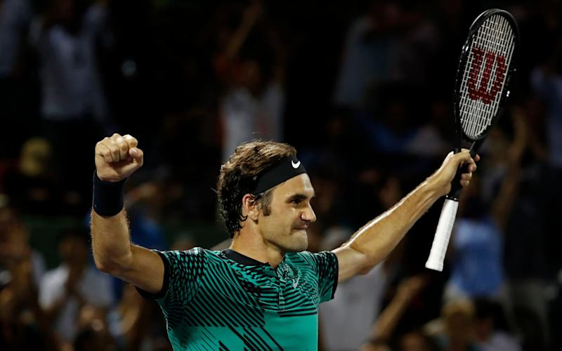 Roger Federer celebrates after winning match point against Nick Kyrgios - USA Today Sports