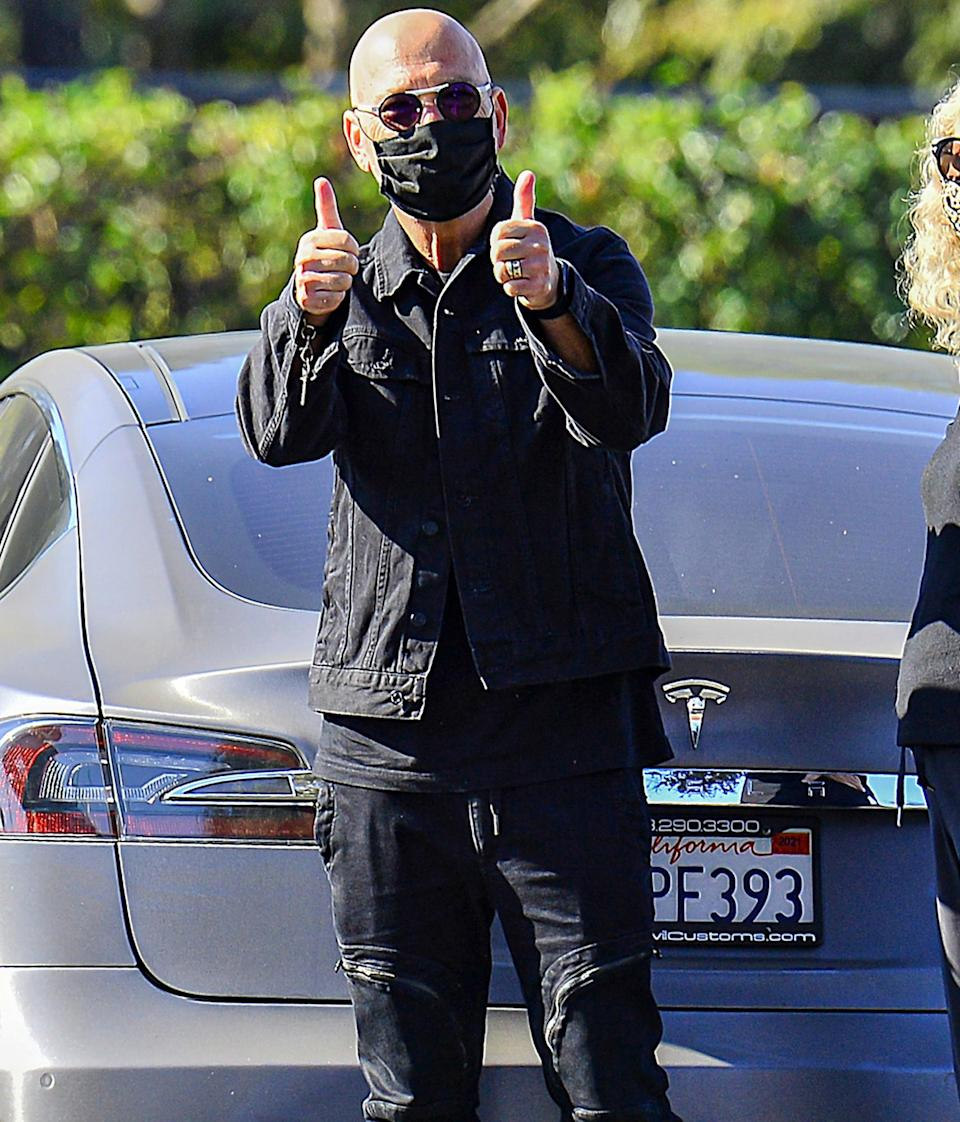 <p>Howie Mandel celebrates selling his Hidden Hills home while out with wife Terry on Wednesday in Calabasas, California.</p>
