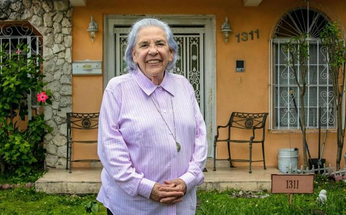 Lazara Ana Rodriguez is an 82-year-old survivor of a Castro prison and lives in a home in Miami that the bank has foreclosed on. She is at risk of being evicted. But her lawyer says the foreclosure is illegal and is fighting it in court.