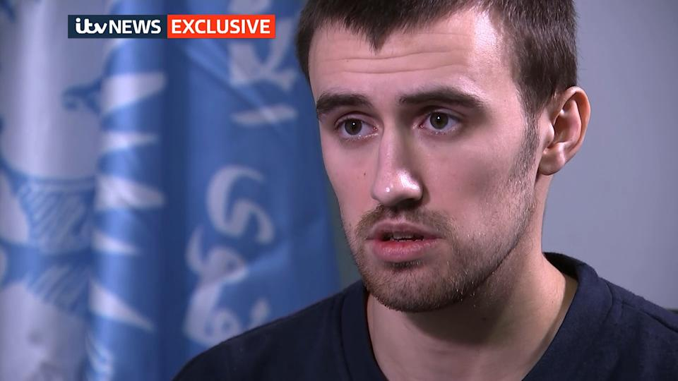 Letts gave an interview from a Syrian prison earlier this year (Picture: ITV)