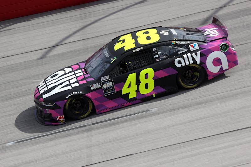 Jimmie Johnson's day at Darlington didn't last very long. (Photo by Chris Graythen/Getty Images)