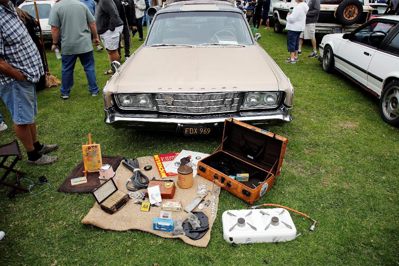 A 1965 Chrysler New Yorker Wagon and accessories are displayed during the Concours d'LeMons in Seaside, California, U.S. August 20, 2016. Michael Fiala/Courtesy of The Revs Institute/Handout via REUTERS      ATTENTION EDITORS - THIS IMAGE WAS PROVIDED BY A THIRD PARTY. EDITORIAL USE ONLY. NO RESALES. NO ARCHIVE.