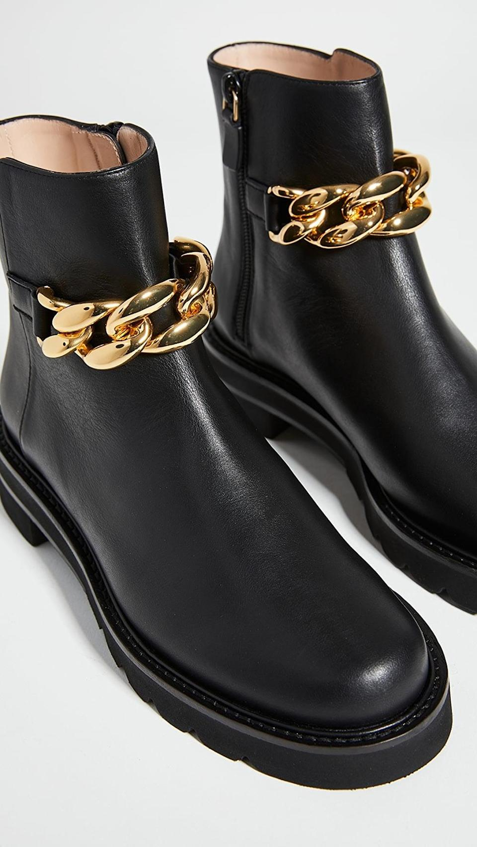 <p>These <span>Stuart Weitzman Chain Lift Booties</span> ($595) are how you take a basic black boot to the next level.</p>