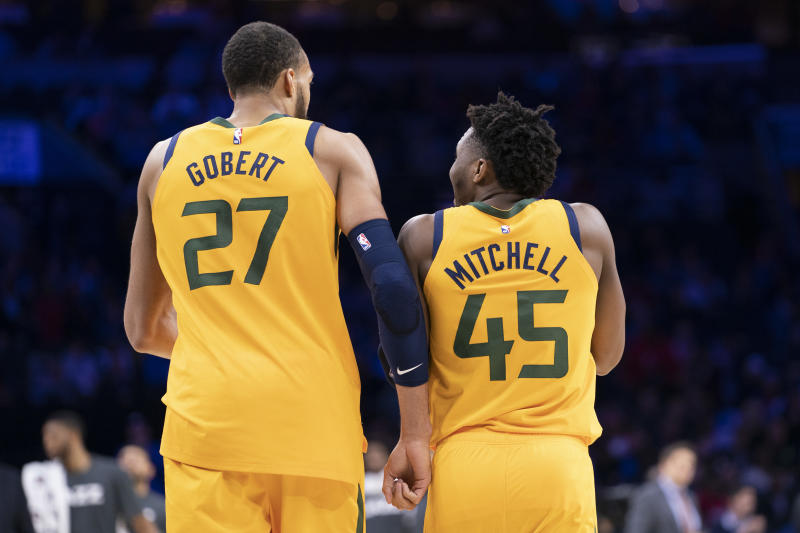 Utah Jazz teammates Rudy Gobert and Donovan Mitchell are reportedly at odds. (Mitchell Leff/Getty Images)
