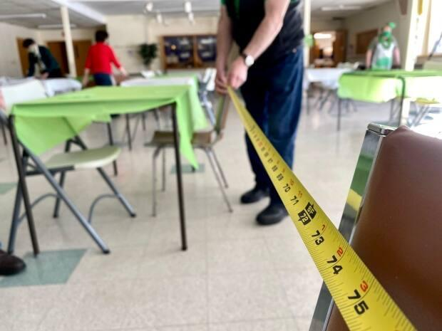 COVID-19 health protocols remained in place for the St. Patrick's Day event.  (John Robertson/CBC - image credit)