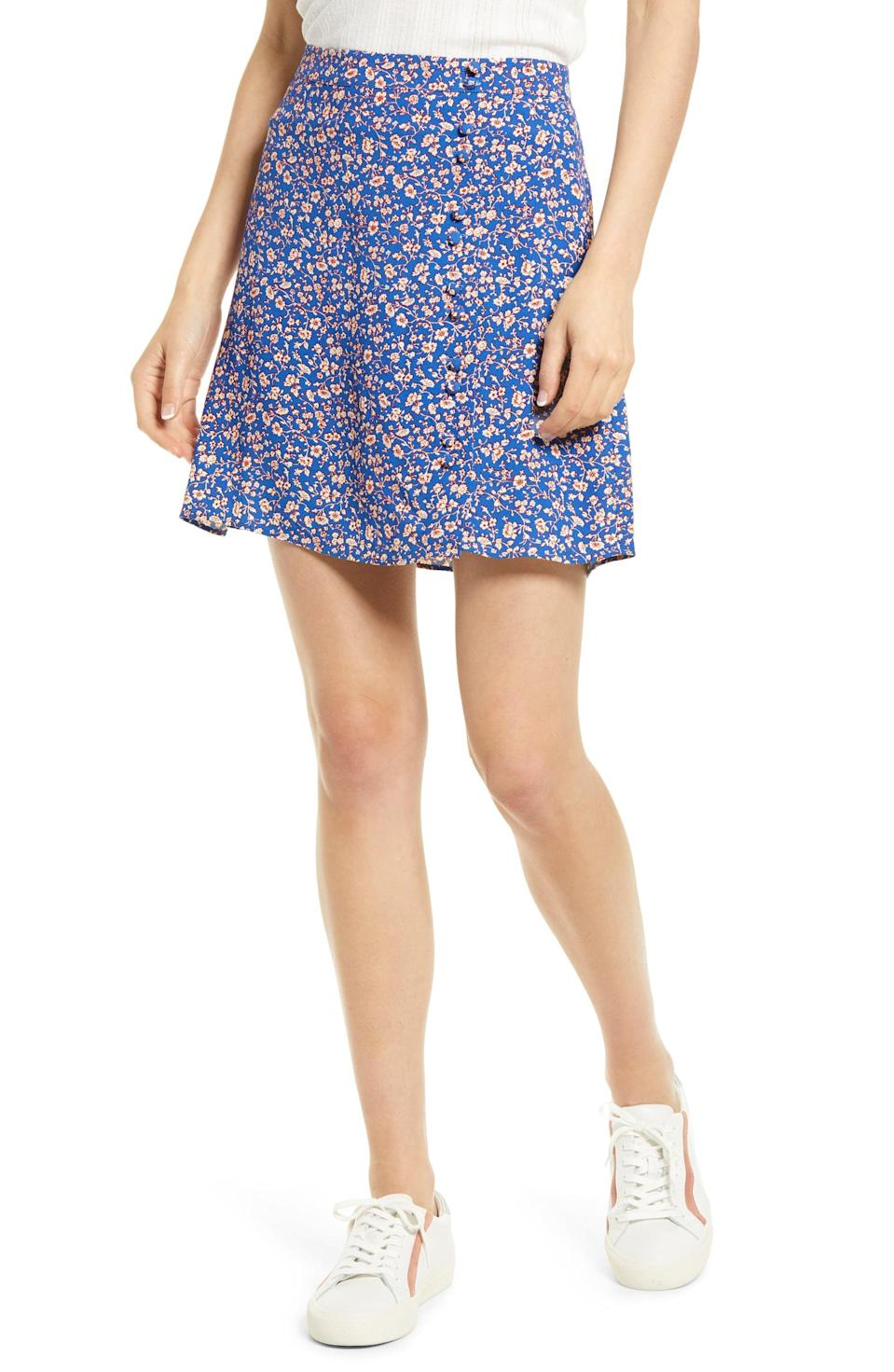 <p>You can't say summer without a floral <span>Madewell Summer Vines Porch Side Button Skirt</span> ($88).</p>