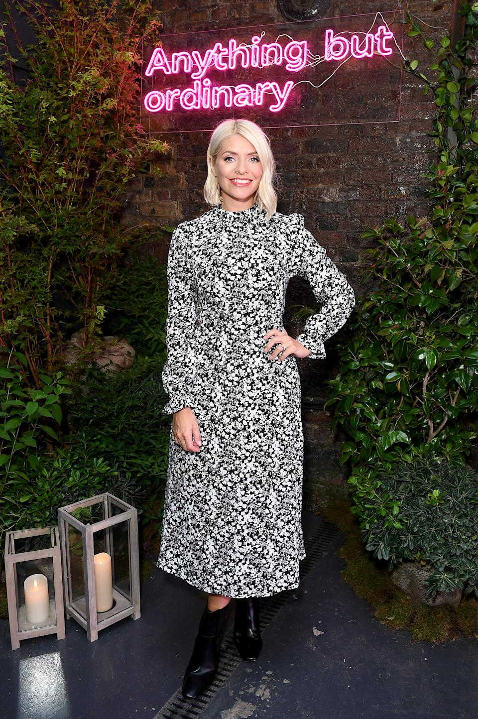 Holly Willoughby attends the Marks & Spencer Autumn Winter 21 seasonal launch event. (Getty Images for Marks & Spencer)