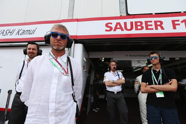 MONTE CARLO, MONACO - MAY 27: Chelsea Football Club owner and businessman Roman Abramovich is seen outside the Sauber garage before the Monaco Formula One Grand Prix at the Circuit de Monaco on May 27, 2012 in Monte Carlo, Monaco. (Photo by Mark Thompson/Getty Images)