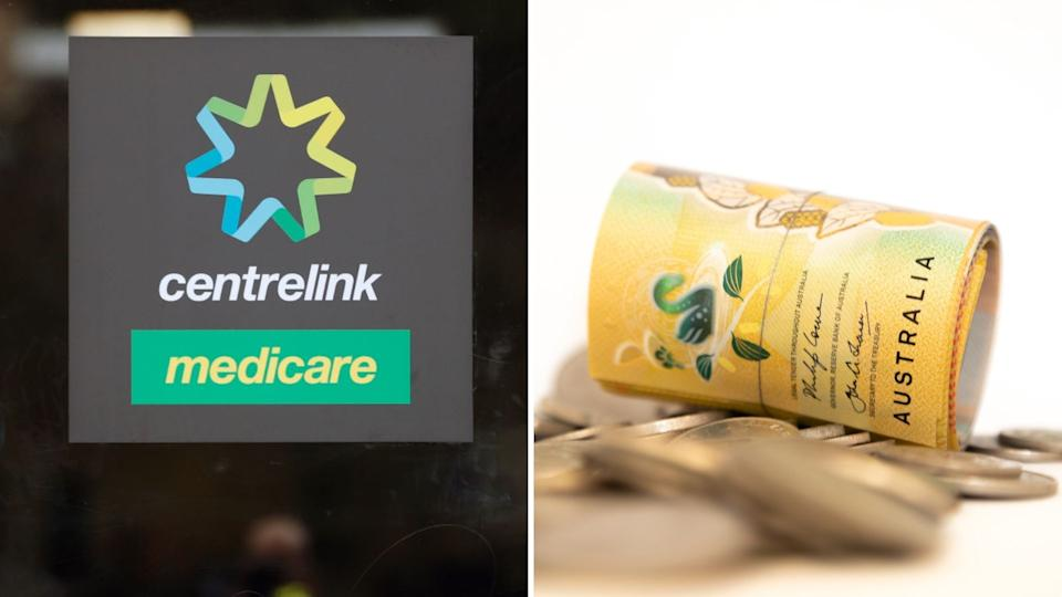Centrelink and Medicare logo, rolled up Australian $50 note and coins.