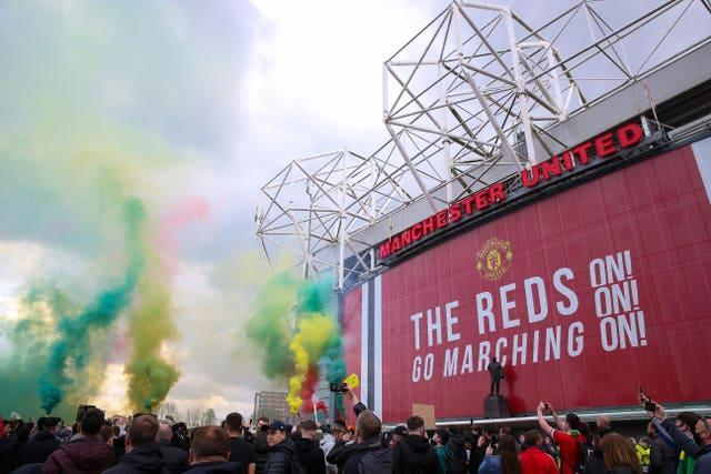 Anti-Glazer protests by United fans on May 2 led to the Premier League match against Liverpool being postponed (Barrington Coombs/PA).