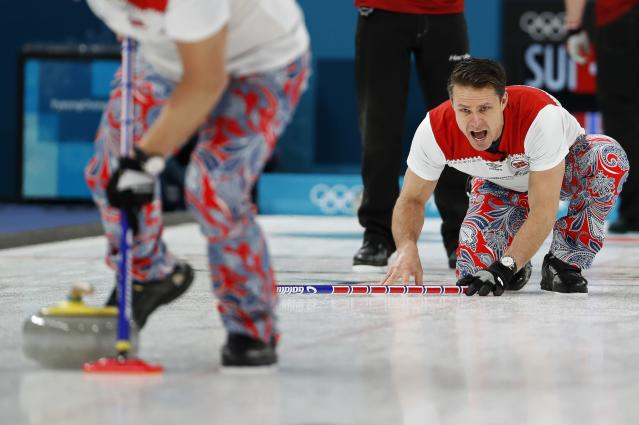 Curling - Pyeongchang 2018 Winter Olympics - Men's Round Robin - Switzerland v Norway - Gangneung Curling Center - Gangneung, South Korea - February 17, 2018 - Thomas Ulsrud of Norway shouts. REUTERS/Cathal McNaughton