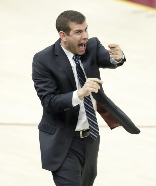 Boston Celtics head coach Brad Stevens yells instructions to players against the Cleveland Cavaliers in the second half of Game 4 of the NBA basketball Eastern Conference finals, Monday, May 21, 2018, in Cleveland. The Cavaliers defeated the Celtics 111-102. (AP Photo/Tony Dejak)