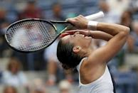 Flavia Pennetta of Italy reacts after defeating Simona Halep of Romania in their women's singles semi-final match at the U.S. Open Championships tennis tournament in New York, September 11, 2015. REUTERS/Mike Segar Picture Supplied by Action Images
