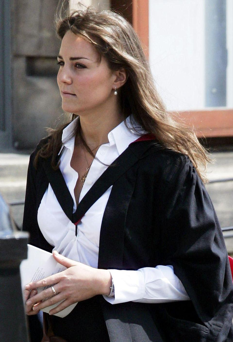 """<p>Kate Middleton wore the rose gold and pearl ring Prince William gave her to her June 2005 graduation from St. Andrew's University, where the pair first met. </p><p><strong>More</strong>: <a href=""""https://www.townandcountrymag.com/society/tradition/a35770428/kate-middleton-prince-william-relationship-full-timeline/"""" rel=""""nofollow noopener"""" target=""""_blank"""" data-ylk=""""slk:Prince William and Kate Middleton's Relationship Timeline"""" class=""""link rapid-noclick-resp"""">Prince William and Kate Middleton's Relationship Timeline</a></p>"""