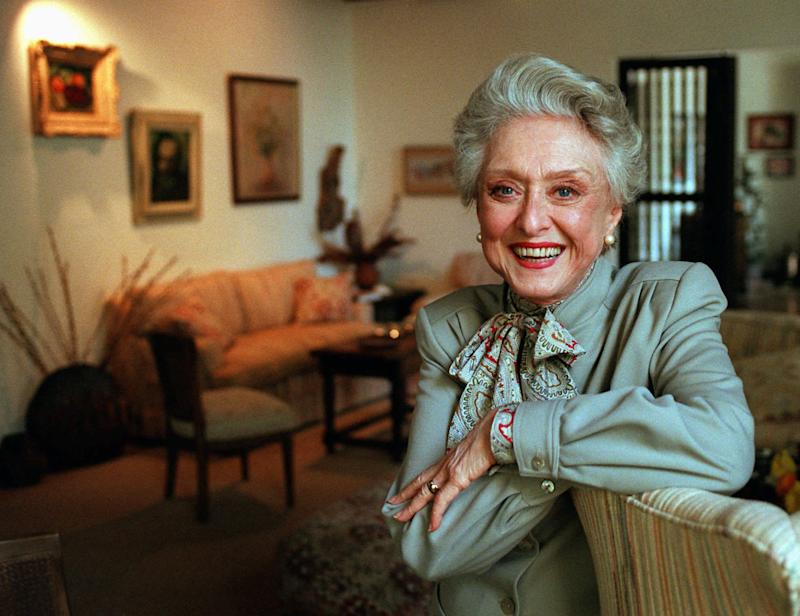 "FILE- In this March 12, 1997, file photo, actress Celeste Holm poses at a friends' home in Santa Monica, Calif. Celeste Holm, a versatile, bright-eyed blonde who soared to Broadway fame in ""Oklahoma!"" and won an Oscar in ""Gentlemen's Agreement"" but whose last years were filled with financial difficulty and estrangement from her sons, died Sunday, July 15, 2012,  a relative said. She was 95.(AP Photo/Kevork Djansezian, File)"