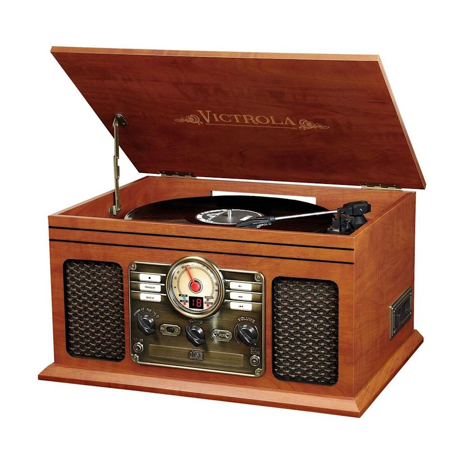 <p>If they're into music, this <span>Victrola 6-in-1 Nostalgic Bluetooth Record Player</span> ($90, originally $100) is such an awesome gift.</p>