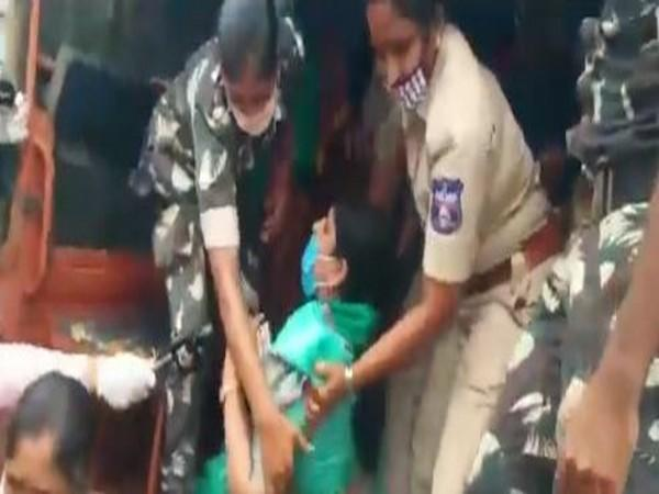 One of the protestors in Amaravati was dragged in the police van. (Video source: N Chandrababu Naidu's Twitter)