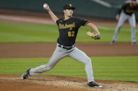 Pittsburgh Pirates pitcher Blake Cederlind throws during the sixth inning of the team's baseball game against the Cincinnati Reds in Cincinnati, Tuesday, Sept. 15, 2020. (AP Photo/Bryan Woolston)