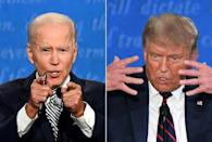 This combination of file pictures created on September 29, 2020 shows Democratic presidential candidate Joe Biden and US President Donald Trump speaking during the first presidential debate in Cleveland, Ohio