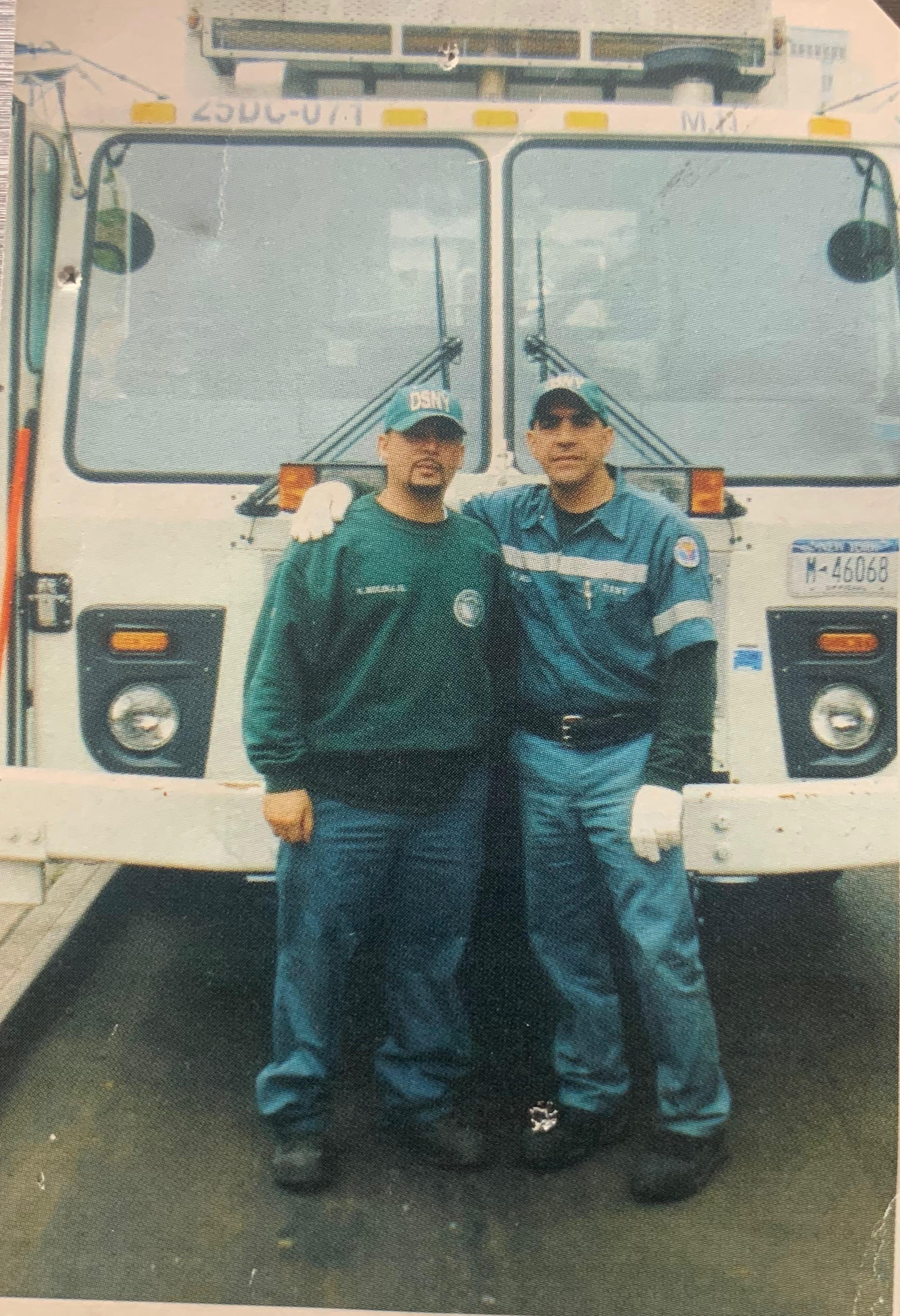 Nelson Molina and his son, Nelson Jr., who both work at New York City's Department of Sanitation. (Photo: Nelson Molina Jr.)