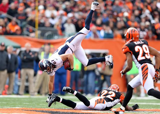 CINCINNATI, OH - NOVEMBER 04: Eric Decker #87 of the Denver Broncos is upended by Nate Clements #22 of the Cincinnati Bengals during the NFL game at Paul Brown Stadium on November 4, 2012 in Cincinnati, Ohio. (Photo by Andy Lyons/Getty Images)