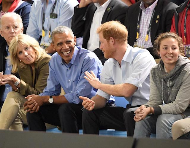 "<p>Former POTUS Barack Obama, as well as former Vice President Joe Biden and his wife, Dr. Jill Biden, accompanied Prince Harry at the Invictus Games wheelchair basketball game in Toronto. We're sure everyone was disappointed that <a href=""https://www.yahoo.com/celebrity/prince-george-meets-president-obama-213100893.html"" data-ylk=""slk:Obama's pal Prince George;outcm:mb_qualified_link;_E:mb_qualified_link"" class=""link rapid-noclick-resp newsroom-embed-article"">Obama's pal Prince George</a> couldn't be there. (Photo: Karwai Tang/WireImage) </p>"