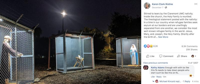 Church nativity scene shows Jesus, Mary and Joseph as caged refugees