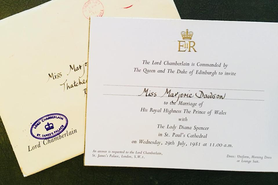 Undated handout photo issued by Hansons of Marjorie Dawson's invitation to the wedding of the Prince of Wales and Diana, Princess of Wales. Touching private letters from the royal family to the trusted servant, who served as personal dresser and maid to the Queen's cousin Princess Alexandra for 36 years, are to go up for auction.