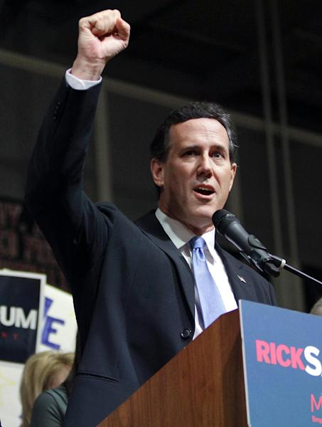 Republican presidential candidate, former Pennsylvania Sen. Rick Santorum speaks at his election night rally at Steubenville High School, Tuesday, March 6, 2012, in Steubenville, Ohio. (AP Photo/Eric Gay)