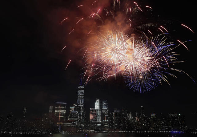 <p>With the New York City skyline in the background, fireworks explode over the Hudson River during the Jersey City Fourth of July fireworks celebration Tuesday, July 4, 2017, as seen from Jersey City, N.J. (AP Photo/Julio Cortez) </p>