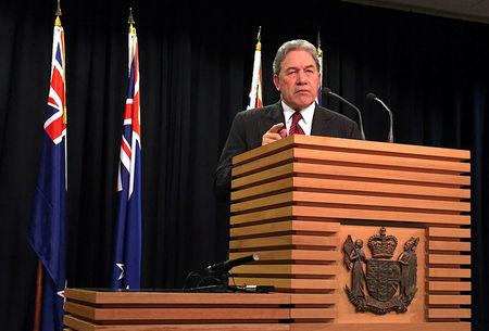 FILE PHOTO - Winston Peters, leader of the New Zealand First Party, speaks during a media conference in Wellington, New Zealand, September 27, 2017.     REUTERS/Charlotte Greenfield/File photo
