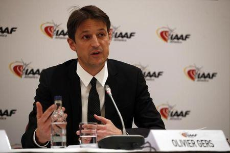 Britain Athletics - IAAF Press Conference - London Marriott Hotel, West India Quay, Canary Wharf - 13/4/17 IAAF Chief Executive Officer Olivier Gers during the press conference Action Images via Reuters / Paul Childs Livepic