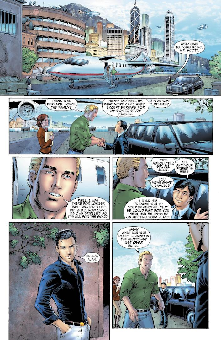 """This image provided by DC Entertainment shows a page from the second issue of the company's """"Earth 2"""" comic book series featuring Alan Scott, the alter ego of its Green Lantern character, who is revealed to be gay. The reveal is the latest example of how comics publishers big and small are making their characters just as diverse as the people who read their books. The issue will be available on June 6, 2012 (AP Photo/DC Entertainment)"""