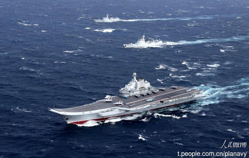 "20161231 - China's ""Liaoning"" aircraft carrier broke through the first island chain in the Pacific Ocean and conducted cross-sea area training missions. The Chinese Navy released photos on the official Weibo.  The picture shows the Liaoning and five destroyers.  (taken from the Chinese Navy to publish Weibo)"