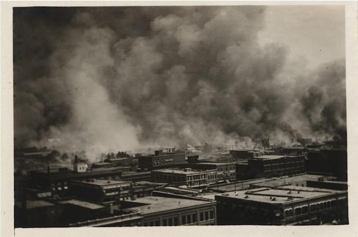 """Greenwood on fire, Tulsa, June 1, 1921. From """"The Ground Breaking"""" by Scott Ellsworth."""